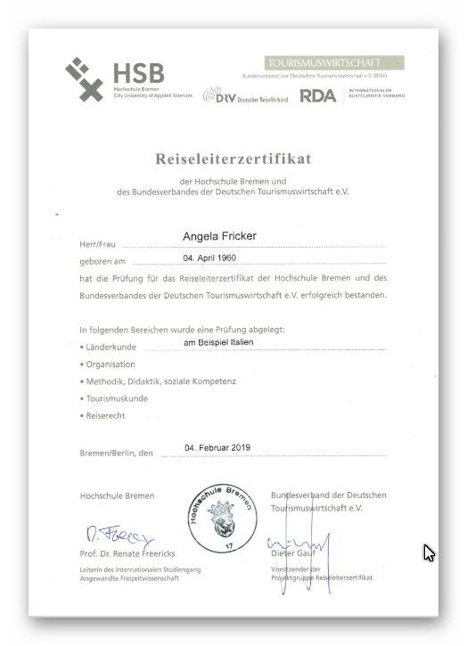 Angie Fricker -Reiseleiterzertifikat HSB Bremen